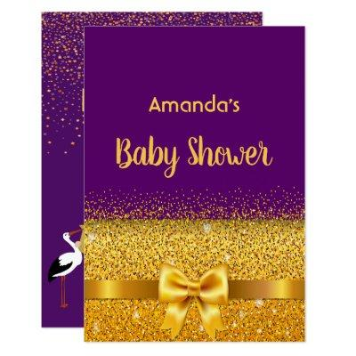 Baby Shower Invitations card violet with golden bow