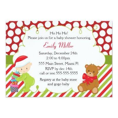 Baby Shower Invitations Christmas Teddy Bear