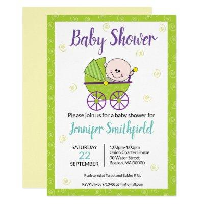 Baby Shower Invitation Featuring Baby Carriage