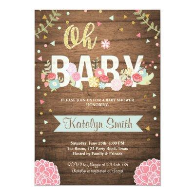 Baby Shower Invitations Floral Rustic Wood Garden