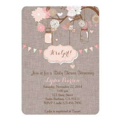Baby Shower Invitations for Girl With Mason Jar
