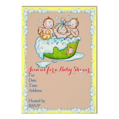Baby shower invitation for triplets