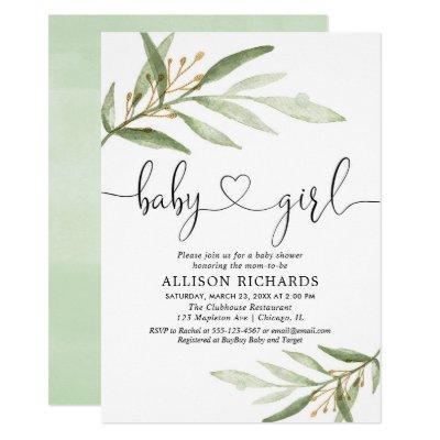 Baby shower invitation girl simple modern greenery
