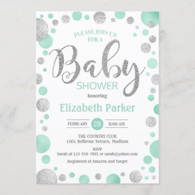 Baby Shower Invitation - Green Mint Silver Dots