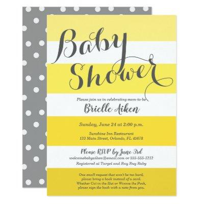 Baby Shower invitation in yellow and gray