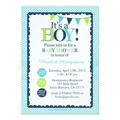 Baby Shower Invitations It's a Boy! Aqua, Green and