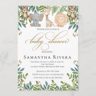 Baby Shower Invitation, Jungle Safari Baby Shower Invitation
