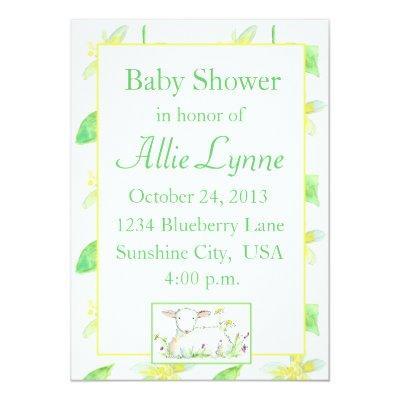 Baby Shower Invitations Lamb Sheep Yellow Flowers