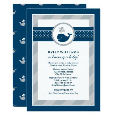 Navy Blue Nautical Whale