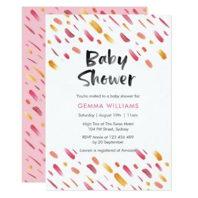 Baby Shower invitation | Pink abstract paint