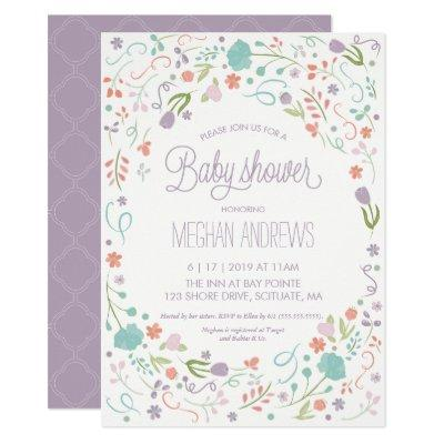 Baby Shower Invitation - Pretty Flowers, Girl