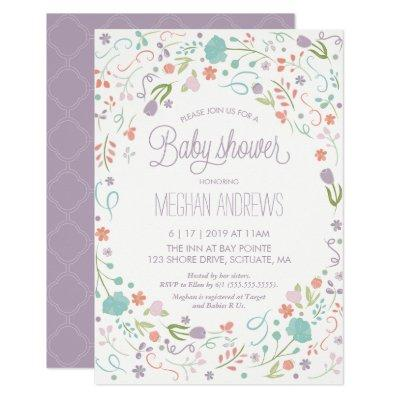 , Pretty Flowers Girl Invite