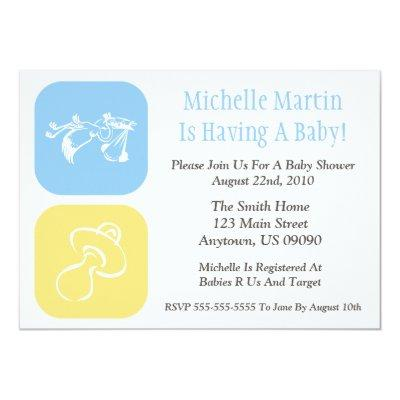 Baby Shower Invitation Stork/Pacifier Blue/Yellow