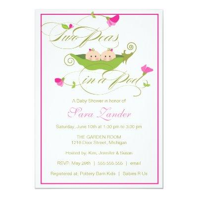 Baby Shower Invitation - Twin Girls Pea in a Pod