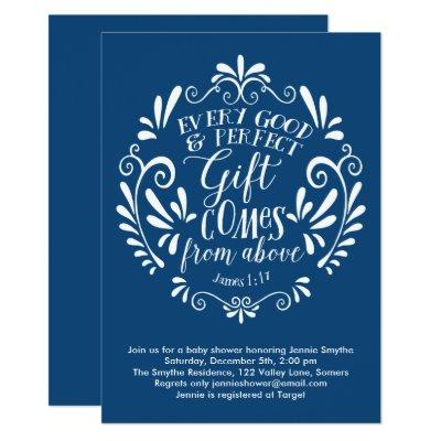 Baby Shower Invitation, Typography Scripture, Blue Invitation