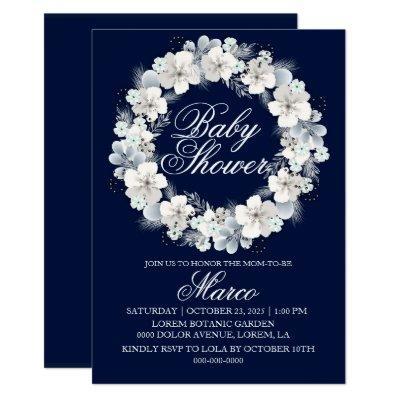 Baby shower invitation white sakura navy blue