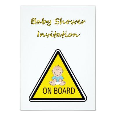 Baby Shower Invitations with baby boy on board