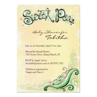 Sweet Pea Baby Shower Invitation Baby Shower Invitations Baby