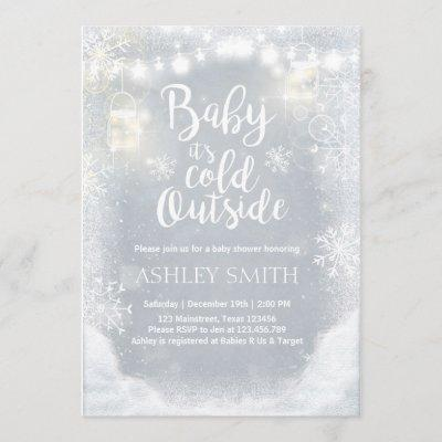 Baby Shower invite Baby it's cold outside Winter