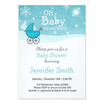 Baby Shower invite Boy Winter cold outside Blue