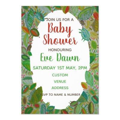 Baby Shower Invite, Green Hand Drawn Foliage Invitations