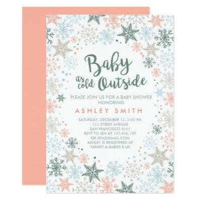 Baby Shower invite It's cold outside Snowflakes