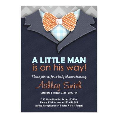 Baby Shower Invite Little Man Bow Tie Blue Orange