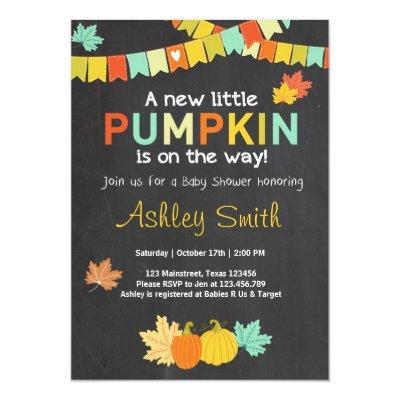 Baby Shower invite Little Pumkin Fall Thanksgiving