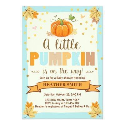 Baby Shower invite Little Pumpkin Blue Boy Fall