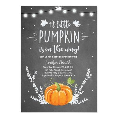 Baby Shower invite Little Pumpkin Fall Chalk