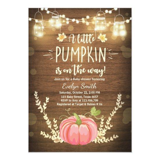 Baby Shower invite Little Pumpkin Fall Rustic Pink