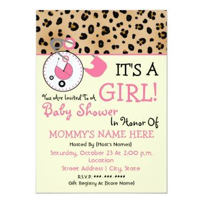 Baby Shower Invite - Pink Diaper Pin & Leopard