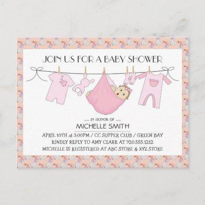 Baby Shower Invite Postcard - Clothes Line Design