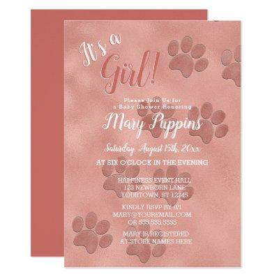 Baby Shower It's a Girl Rose Gold Paw Prints Invitation