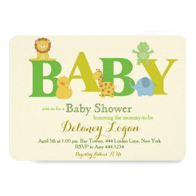 Baby Shower Jungle Animals Invitations