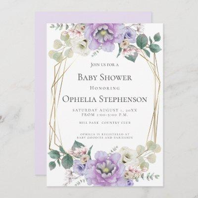 BABY SHOWER   Lavender Watercolor Flowers Invitation