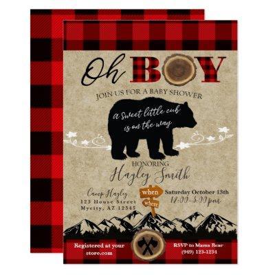 Baby Shower Little Bear Flannel Lumberjack Theme Invitation