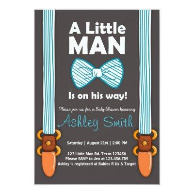 Baby Shower Little Man Invitations Bow Tie Blue