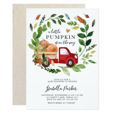 Baby Shower Little Pumpkin Truck Fall Greenery Invitation