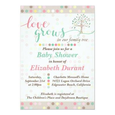 Baby Shower Love Grows In Our Family Tree Pastel Invitations