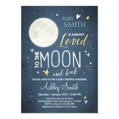Baby Shower Love You to the Moon and Back Blue Boy Invitations