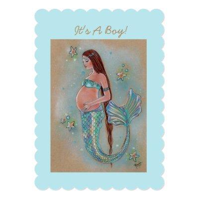 Baby shower mermaid invitations by Renee Lavoie