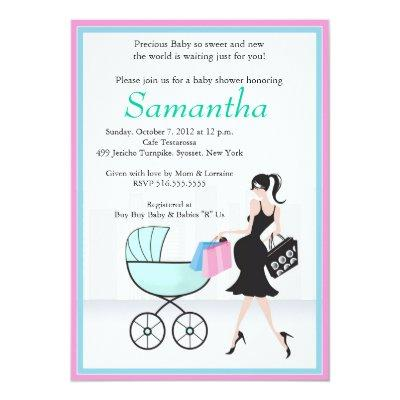 Baby Shower Mom to be with Carriage Invitation