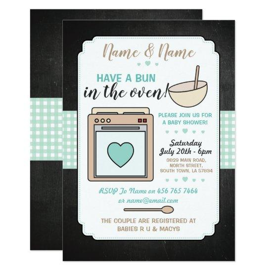 Baby Shower Party Bun in the Oven Gender Reveal Card | Baby