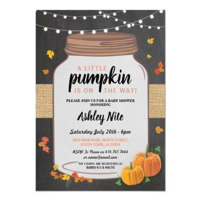 Baby Shower Party Jar Pumpkin Fall Chalk Invite