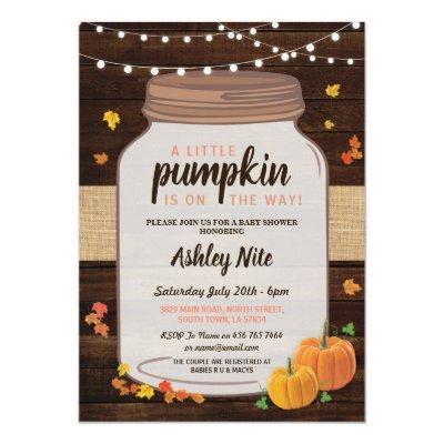 Baby Shower Party Jar Pumpkin Fall Invite