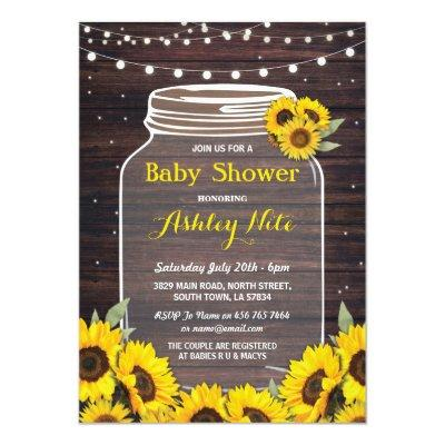 Baby Shower Party Jar Wood Sunflower Fireflies Invitation