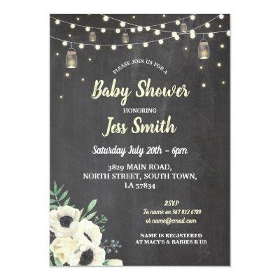 Baby Shower Party Rustic Chalk Fireflies Invite