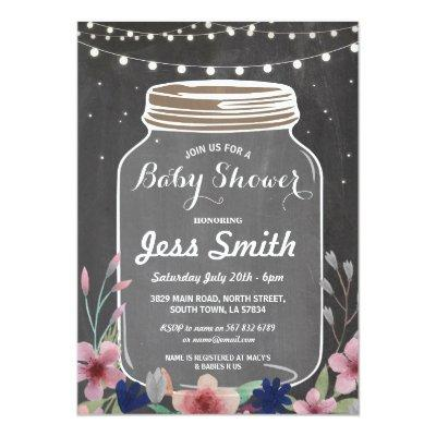 Baby Shower Party Rustic Jar Chalk Floral Invite