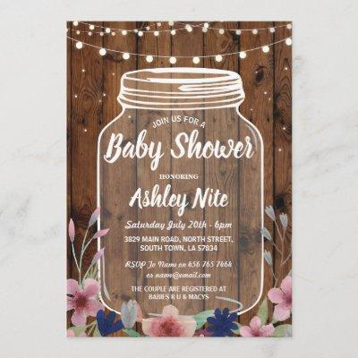 Baby Shower Party Rustic Jar Wood Floral Invite